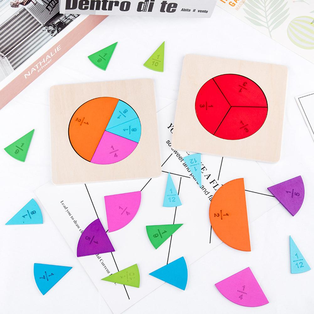 1 Set Kids Fraction Board Wooden Circular Board Mathematics Fraction Division Teaching Aids Education Toy