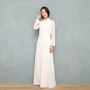 Image 4 - 2020 wietnam Ao Dai biała jednolita, szyfonowa perspektywa sukienka dla kobiety chiński Cheongsams pełna rękaw kobieta orientalna sukienka
