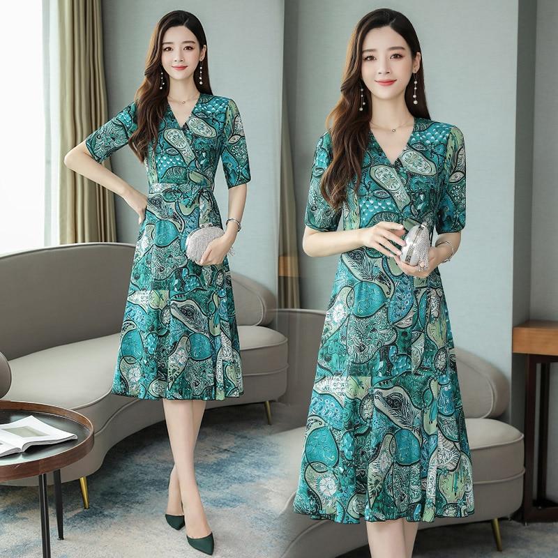 Korean Chiffon Dress Women Print Dresses Elegant Office Lady V Neck Midi Dress Plus Size Woman High Waist Floral Dresses Vestido