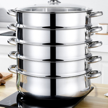 Steamer Stainless-Steel Soup-Pot Stockpot Practical Silver 28cm Multifunctional 5-Layers