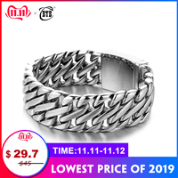 Double Curb Cuban Chain Bracelet Mens 316L Stainless Steel Wristband Bangle Silver Tone 23mm Buddha Bracelet with Logo