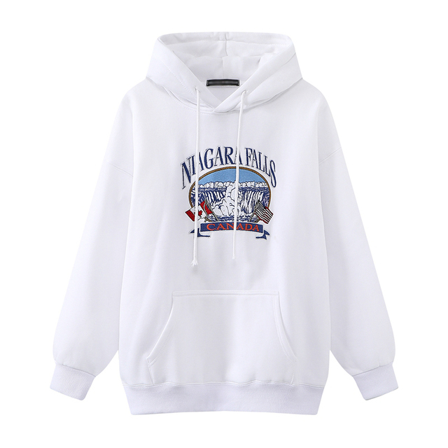 Oversize Girls Waterfall Embroidery Sweatshirts 2021 Spring-Autumn Fashion Ladies Soft Thick Pullovers Loose Women Chic Clothes 5