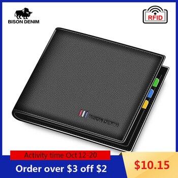 BISON DENIM 100% Cow Leather Wallet Men Bifold credit Card Holder Wallet RFID Blocking short Purse For Men Portemonnee Male N447