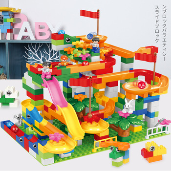 DIY Marble Race Run Block Big Size Compatible Duploed Building Blocks Plastic Funnel Slide Assembly Bricks Toys For Children funlock duplo marble run plastic slide 43p blocks crystal snowice building toys for children