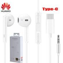 Huawei fone de ouvido cm33 usb tipo-c/am116 3.5mm no ouvido com fio microfone controle de volume fone de ouvido para huawei companheiro 10 pro p20 por p30 pro