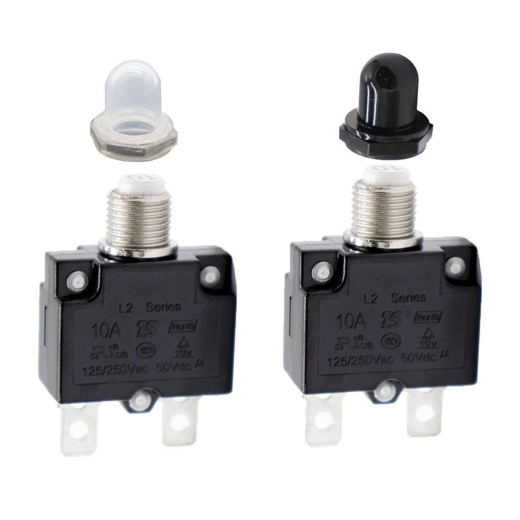 2 uds 125/250V 10A interruptor de circuito Protector de sobrecarga fusible reinicio AC con botón de Reinicio manual tapa impermeable transparente