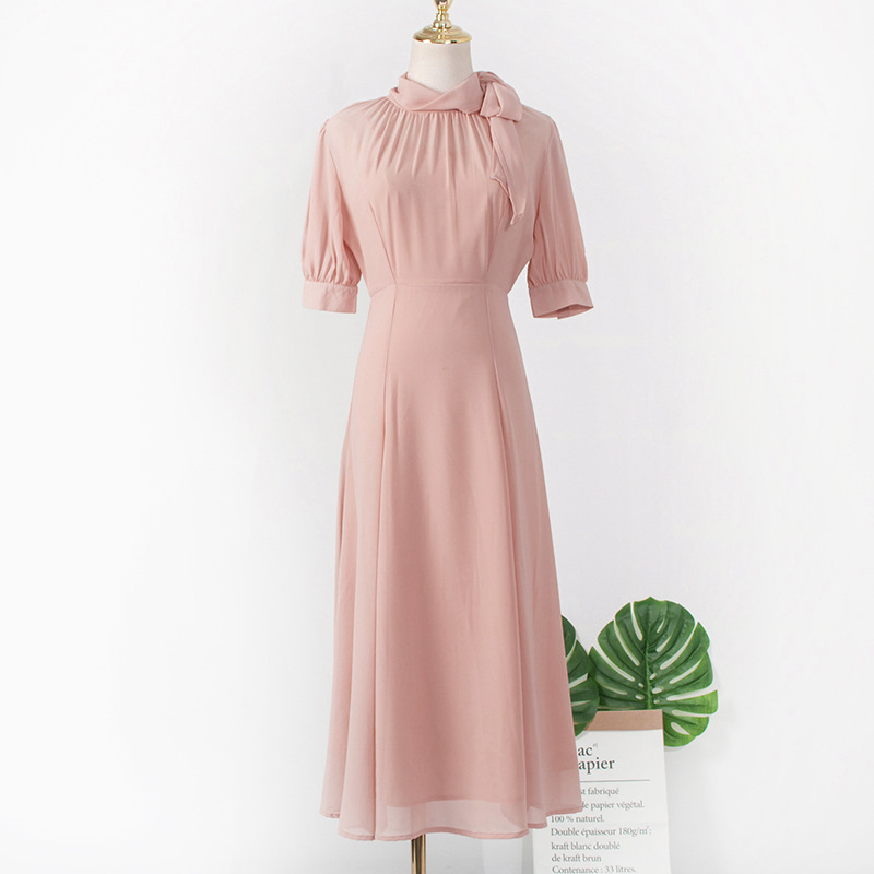 Image 4 - Pink Scarf Collar dress  for women DEL LUNA Hotel same IU платье летнее Korean  summer Gifts Birthday Christmas Clothes wear-in Dresses from Mother & Kids