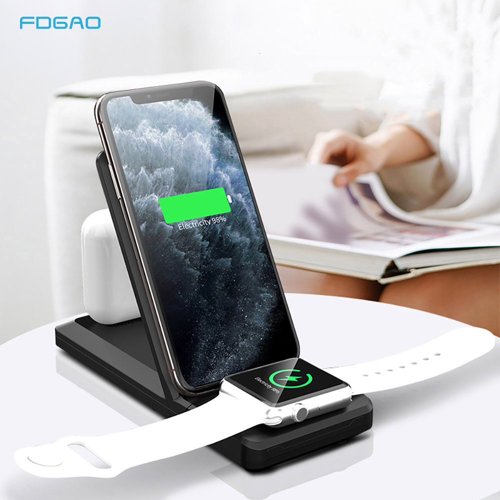 Qi 15w Fast Charge 3 In 1 Wireless Charger For Iphone 11 Pro Xs Xr