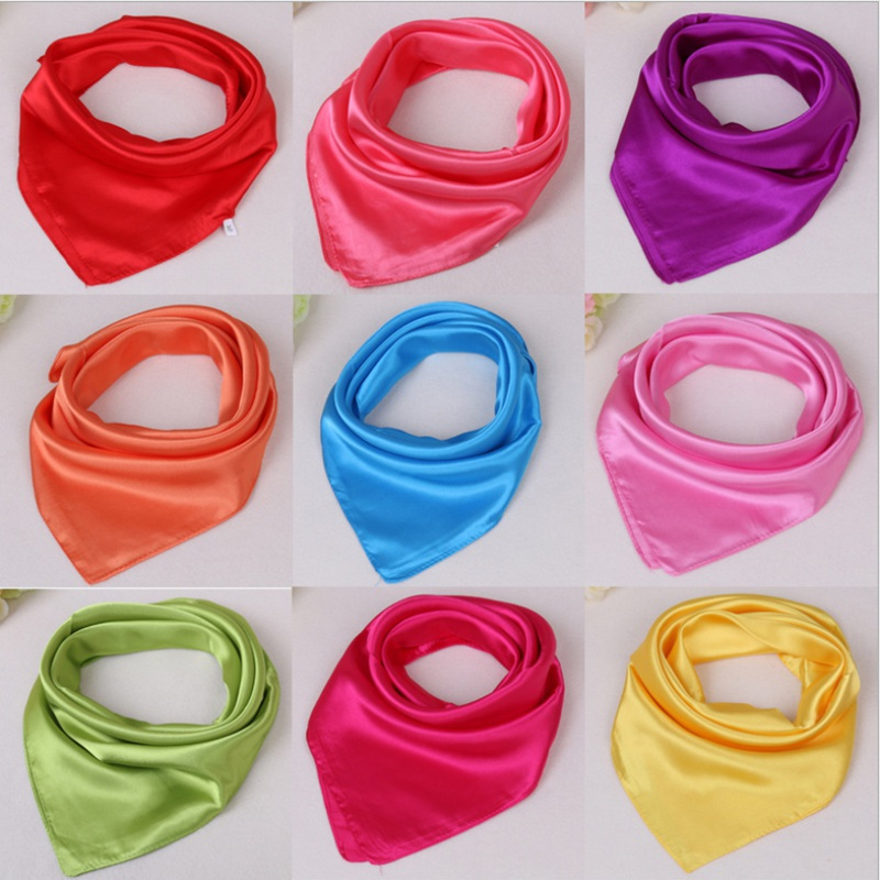 WZCX 60*60cm Women Solid Color Silk Scarf Spring Autumn Fashion New Simple Square Scarfs For Ladies Female Scarf