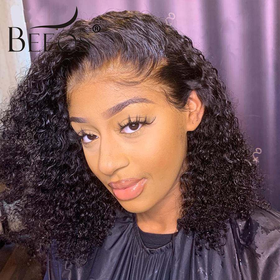 Beeos Short 13x6 Lace Front Human Hair Wigs Pre Plucked With Baby Hair Deep Part Curly Brazilian Remy Hair Lace Front Wigs 8-16