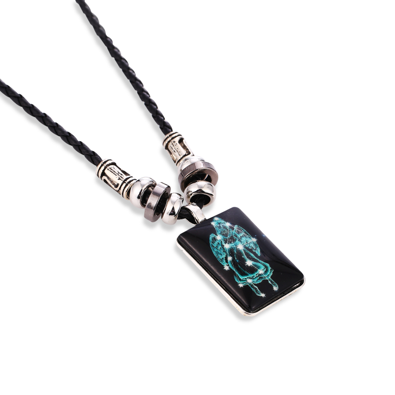 2019 Fashion Galaxy 12 Constellation Design Zodiac Sign Horoscope Astrology Pendant Necklace For Men Women Square Long Jewelry in Pendant Necklaces from Jewelry Accessories