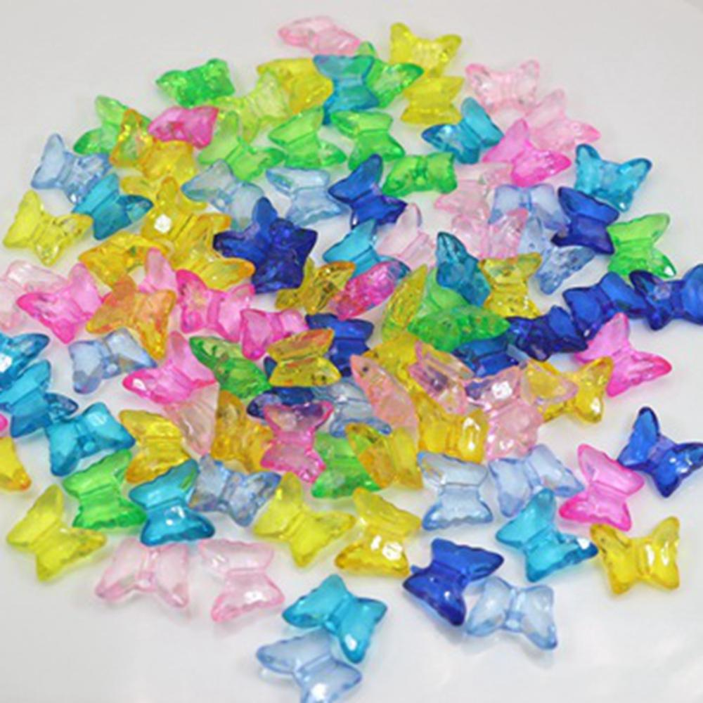 Closeout Deals⌡5000 Mixed Colour Transparent Acrylic Butterfly Charm Beads 15X12mm Jewelry Make