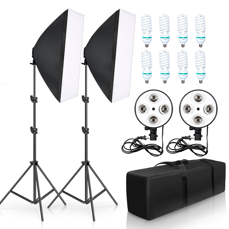 Photo Studio Softbox Kit 8pcs 135W Photographic Lighting Kit Camera & Photo Accessories 2 light stand 2 softbox for Photo 1