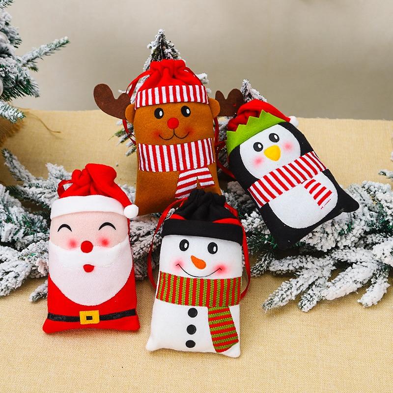 New Year Christmas Shopping Bag Storage Package Drawstring Bag Small Coin Purse Travel Women Cloth Bag Gift Santa Claus Xmas