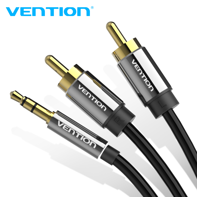 Кабель Vention RCA, 3,5-RCA Jack 2 rca-Aux 3,5 мм аудио стерео кабель для усилителя смартфона, домашнего кинотеатра, DVD, RCA Aux кабель