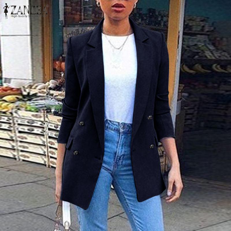 ZANZEA 2020 Fashion Blazers Women Coat Solid Pockets Overcoat Long Sleeve Outwear Winter Chaquetas Mujer Casaco Femme Plus Size