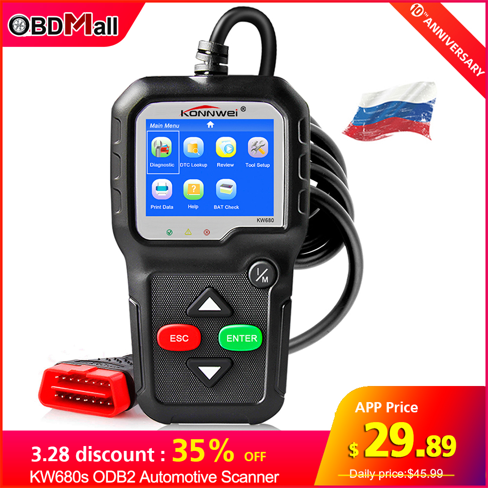 KONNWEI KW680s ODB2 Automotive Scanner Engine Fault Code Reader Car Diagnostic Tool ODB2 Better AD410 Scan Tool Obd2 Autoscanner