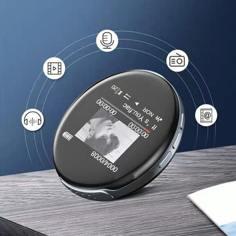 New Arrival Round Bluetooth MP3 Player Built-in Speaker With Screen Support FM Recording,Clock,MINI Sport Music Player