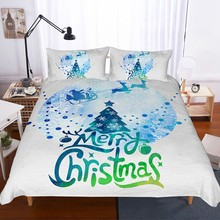 Hot Sale Festival Boys Girls Bedding Set 2/3PCS Christmas Bed Linen Snow Santa Claus Print Duvet Cover Twin Full Queen