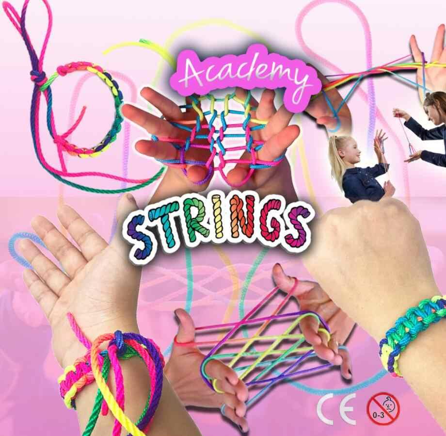 كيد لعب Stringz قوس قزح حبل مونتيسوري Ztringz الاصبع حبل لعبة موضوع ألعاب ألغاز يخلق مجلس لعبة فريق التفاعل لعب