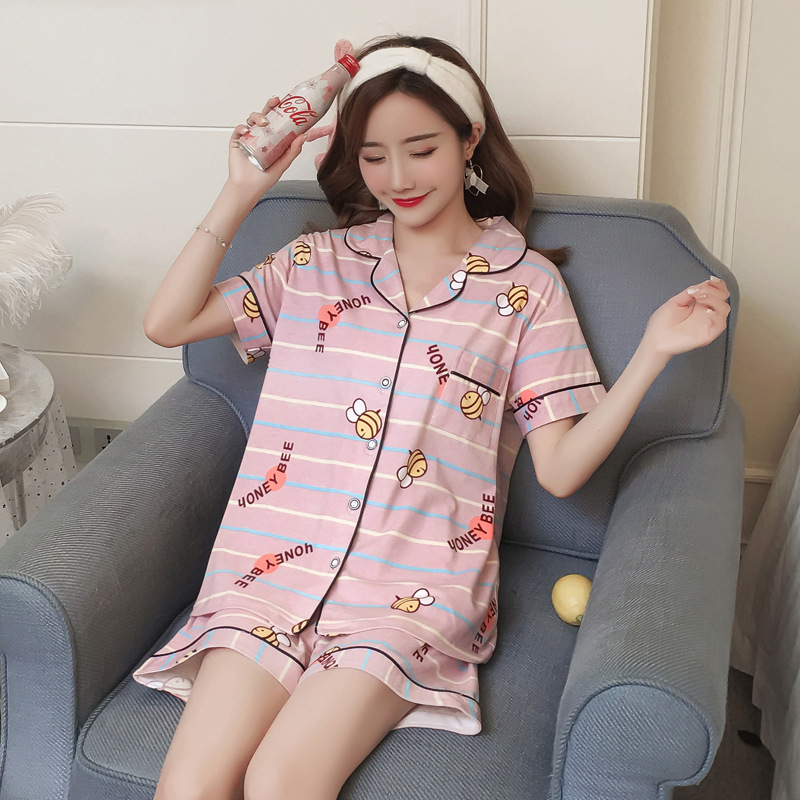 Summer New Style Pajamas WOMEN'S Suit 7803 # Bees M-xxl6535 Cotton