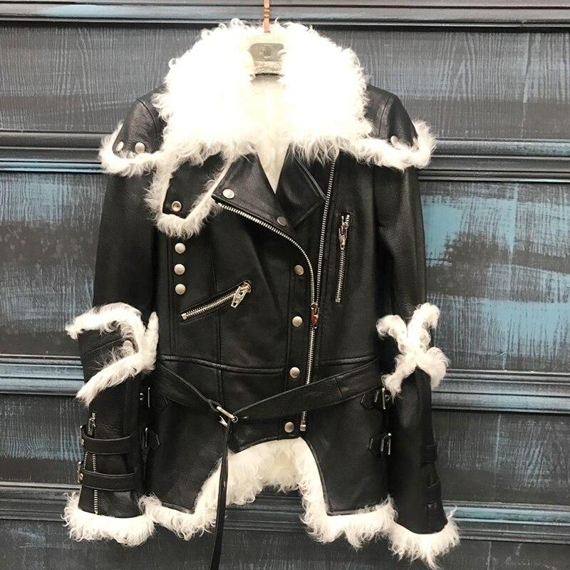 Женские пальто 100% овечья кожа 2019 Зимняя мода натуральный мех ягненка верхняя одежда теплая и толстая