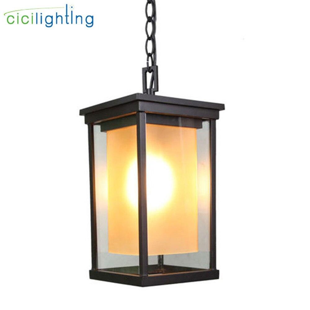 Gl Shade Outdoor Pendant Lamp
