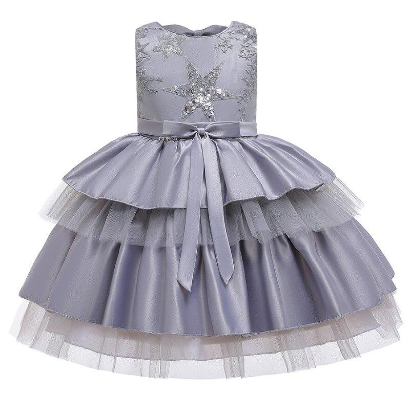 Вечерние платья с вышивкой для девочек; свадебные вечерние платья для девочек с цветами и бусинами; Детский карнавальный костюм Pengpeng - Цвет: gray