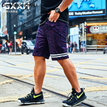Big size Leisure Pants Male Shorts Loose Plus Fat Plus Fat Fat Man Men's Wear Personality Printing Five Points Pants