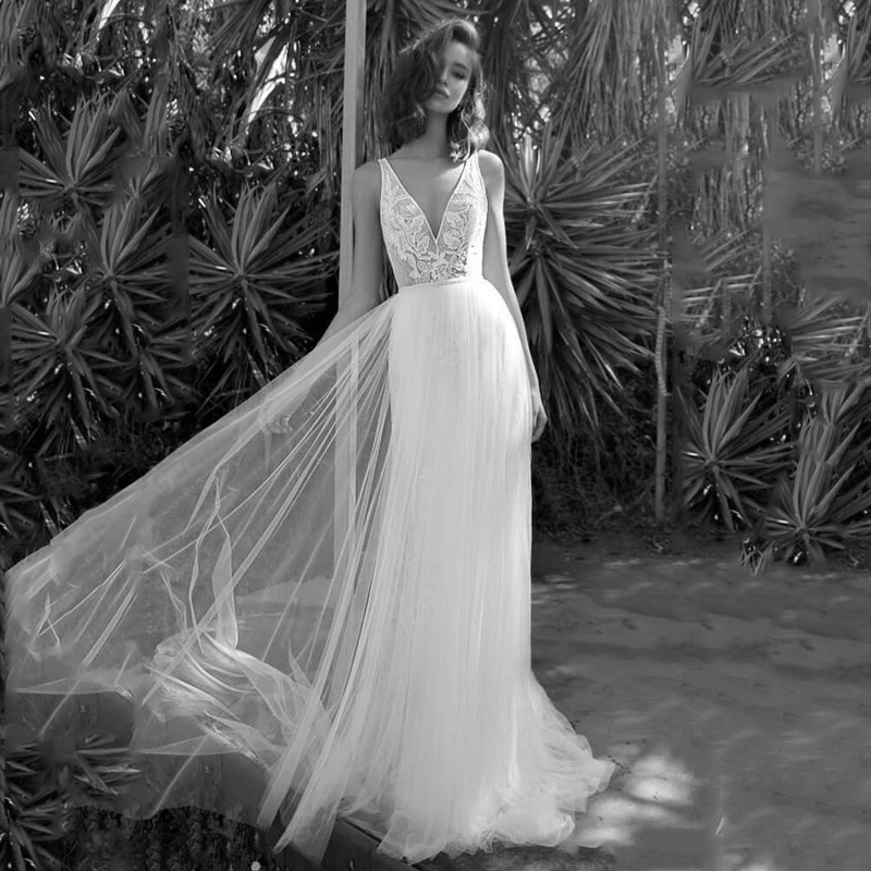 2019 Sexy Bohemian Wedding Dress Sleeveless A Line Boho Bridal Gowns Backless Vestido De Noiva Lorie Wedding Gowns For Women