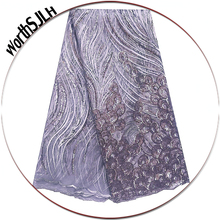 Luxury African Lace Fabric 2019 High Quality Grey Blue Bridal Mesh 3D Sequence Nigeria Net Latest Materials