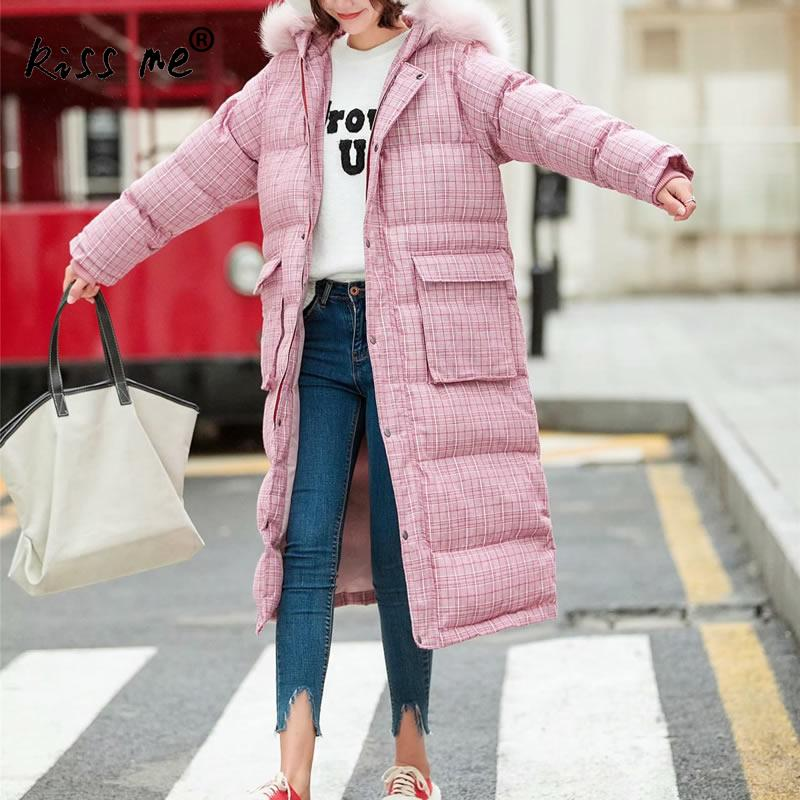 Hooded Mid-Long Solid Outdoor Down Jacket Thermal Warm Winter Down Coat Women Windproof Cotton Clothing Casual Loose Style