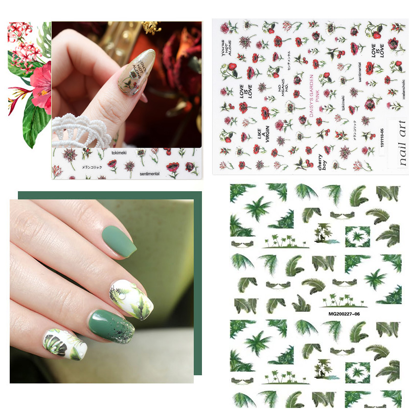 2020 DIY 3D Nail Art Sticker Adhesive Sticker Decals Tool Lovely Fresh Leave Red Flower Design Nail Art Tattoo Decoration Z0285