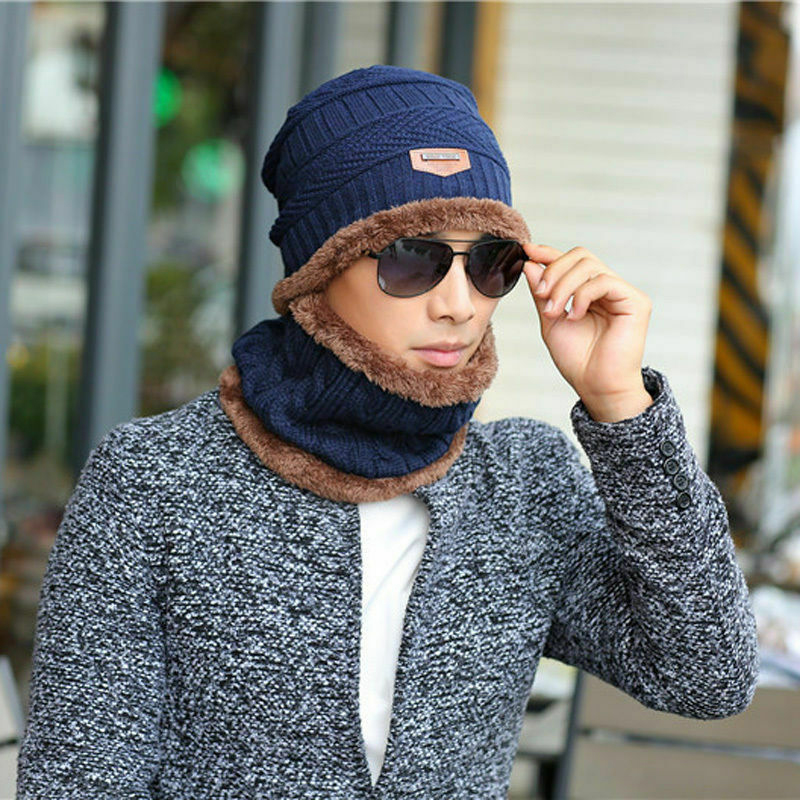 2Pcs Women Men Winter Warm Knitted Hat With Scarf Set Skullies Beanies For Adult Outdoor Sport Set Male Female Warm Scarf Hat