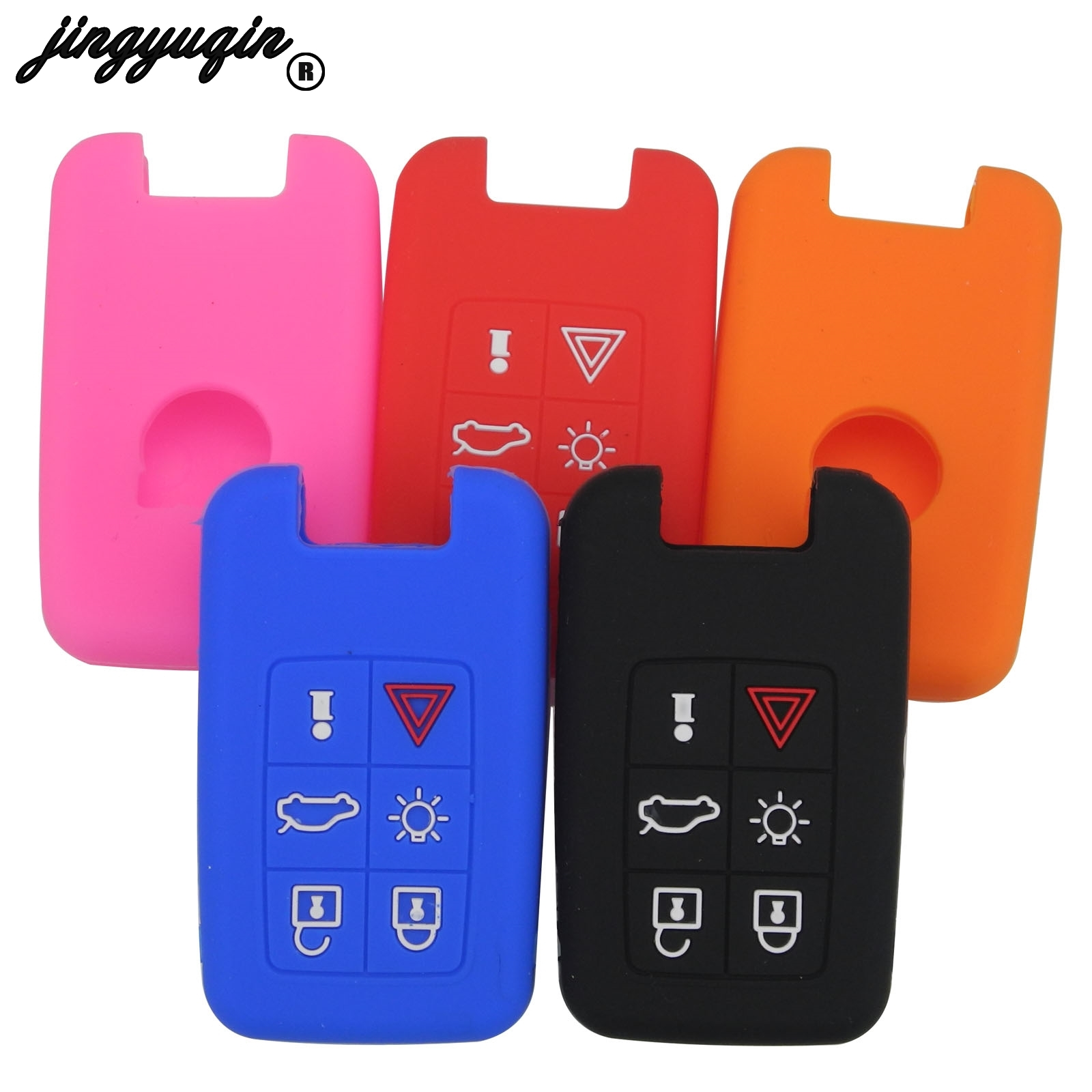 Jingyuqin 6 Button Silicone Car Key Case Smart Remote Keyless Fob Protect Cover For Volvo V40 S80 XC60 S60L V60 XC90 V70 S40
