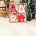 12Pcs Creative Wooden Christmas Pendants Ornaments for Xmas Tree Hanging Party Decoration