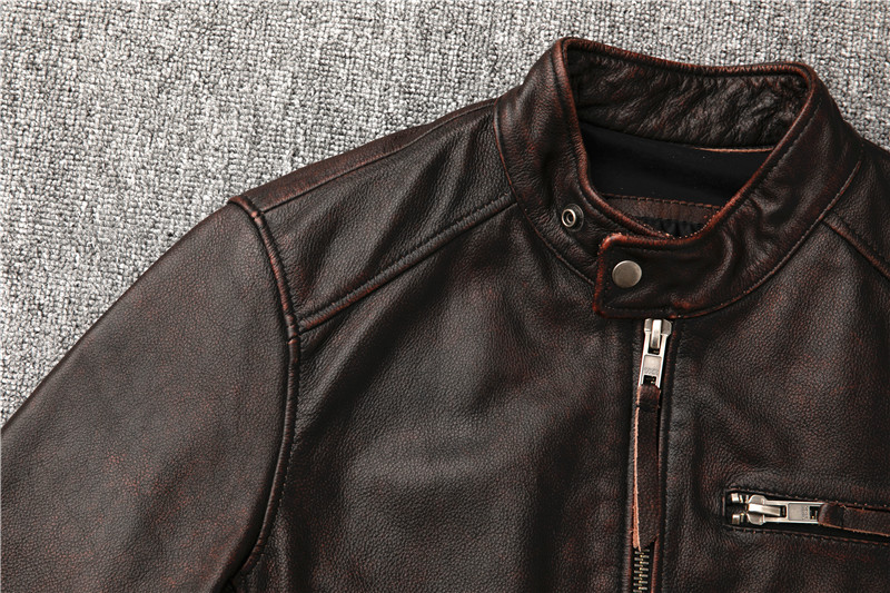 H1fbe557d88124701ae231876e12a33301 Classic motor style,vintage genuine leather Jacket,fashion men brown Leather coat,street biker coat,sales