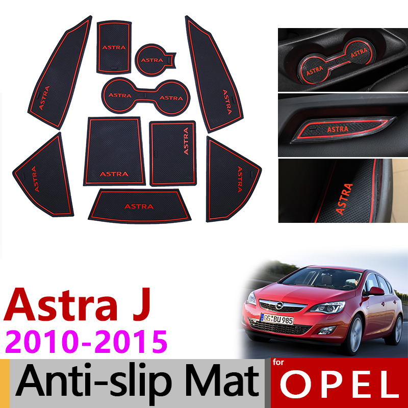 Anti-Slip Rubber Gate Slot Cup Mat For Opel Astra J Vauxhall Holden 2010 2011 2012 2013 2014 2015 Accessories 2016 2017 Stickers