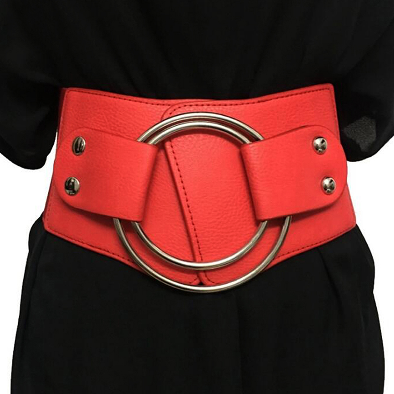 Vintage Wide Waist Elastic Belts For Ladies Stretchy Corset Waistband Metal Big Ring Women's Belt Fashion Women Cummerbund PU