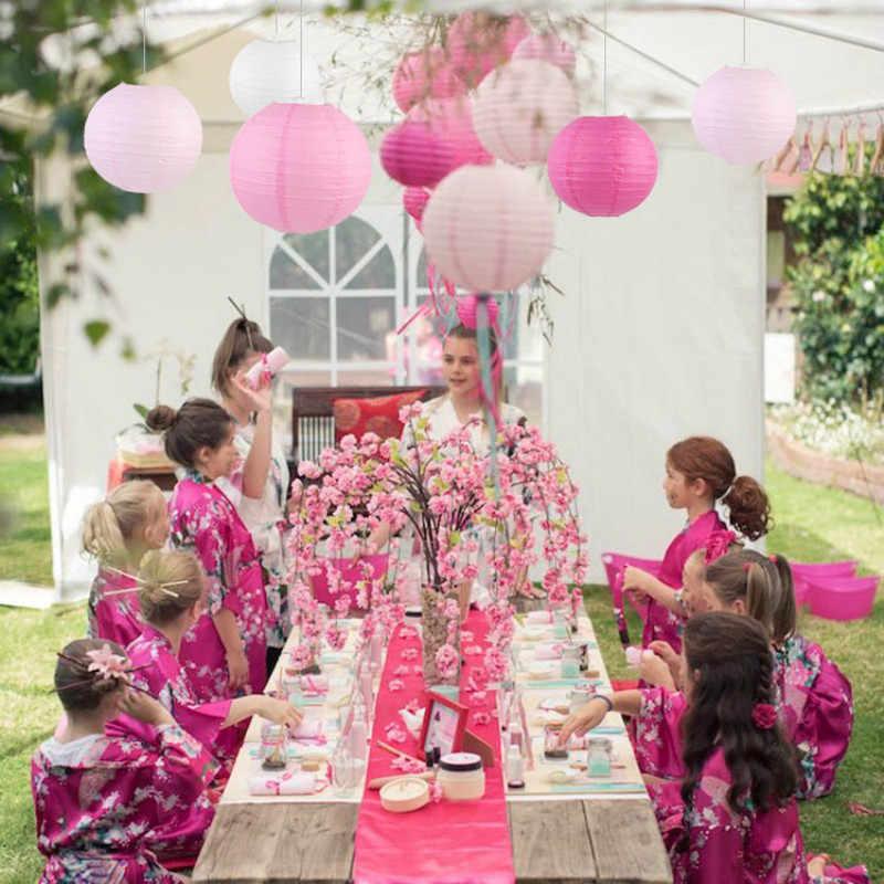סיני/יפני עגול נייר הפנסים יום הולדת חתונה יום הולדת מתנת מלאכת DIY מפיון לבן תליית פנס כדור ספקי
