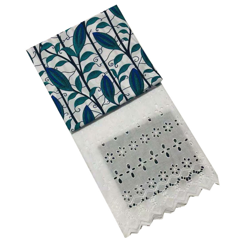 En gros! Tissu de cire hollandaise de cire de coton africain de 3 Yards + 2.5Yards tissu de dentelle de Voile suisse brodé bleu nouveau Design de fleurs - 3