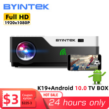BYINTEK K19 Full HD 1080P Video Game LED 3D 4K Projector Beamer(Optional Android 10 TV Box for Smartphone)