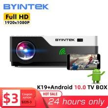 Byintek K19 Full Hd 1080P Video Game Led 3D 4K Projector Beamer (Optioneel Android 10 Tv Box voor Smartphone)