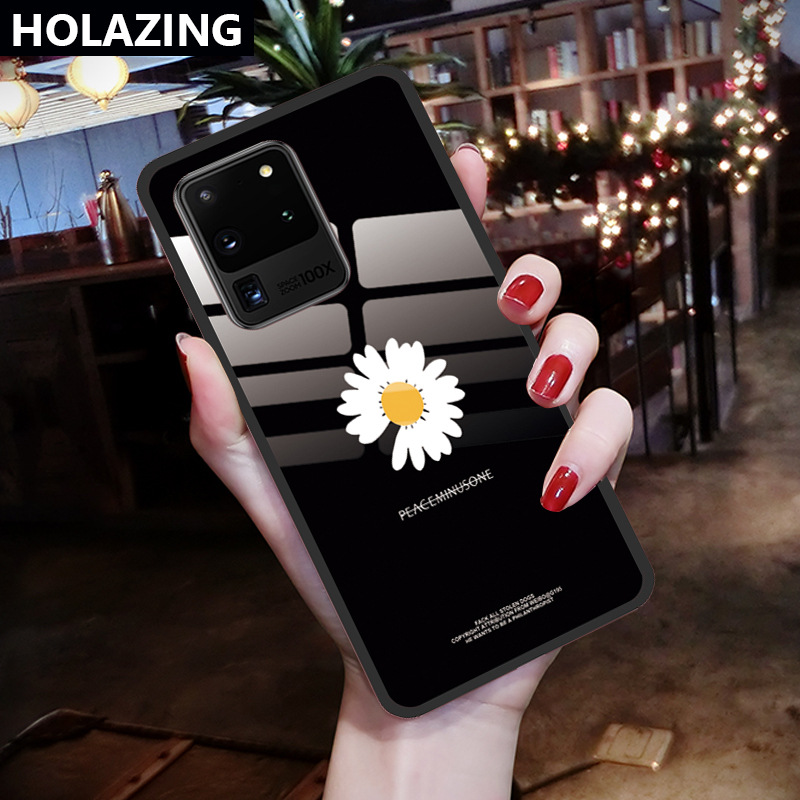 Case For Samsung S20 Plus Ultra S10 Lite S10E S9 S8 Note9 Note8 Daisy Pattern Tempered Glass Soft TPU Back Cover Phone Cases