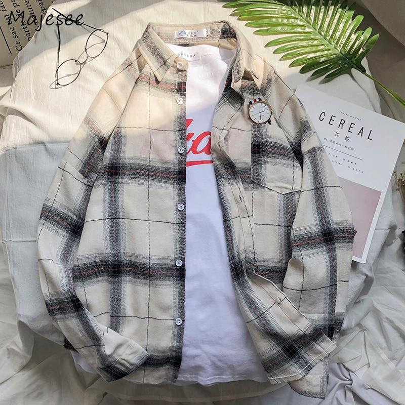 Shirts Men Turn-down Collar Plaid Pockets Leisure Simple All-match Korean Style Ulzzang Shirt Mens Loose Trendy Shirt Clothing