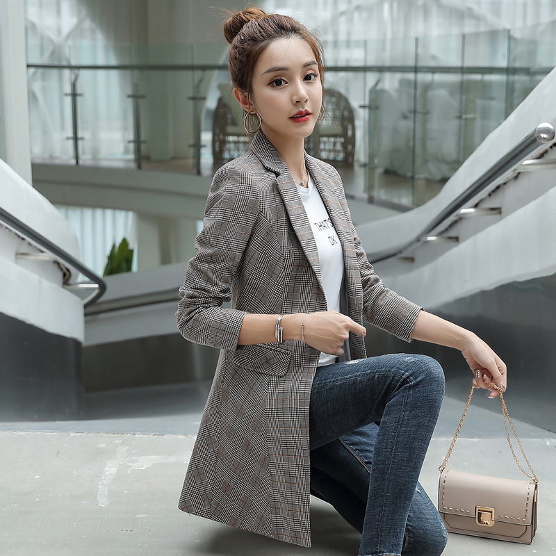 Fashion women's long jacket high quality 2019 new slim plaid blazer Temperament office suit large size Winter women's clothing