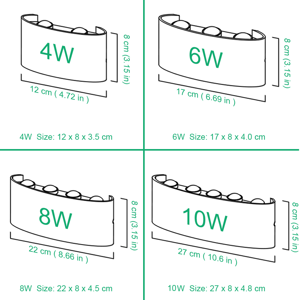 Nordic LED wall lamp Aluminum Waterproof outdoor wall lights for Porch/Garden /Bathroom light led luminaire 4W/6W/8W/10W /12W 6
