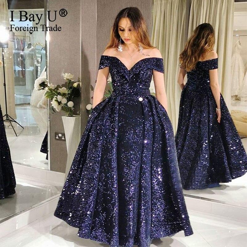 Navy Blue Sequin Arabic Muslim Formal Evening Dress Custom Made Evening Party Gown