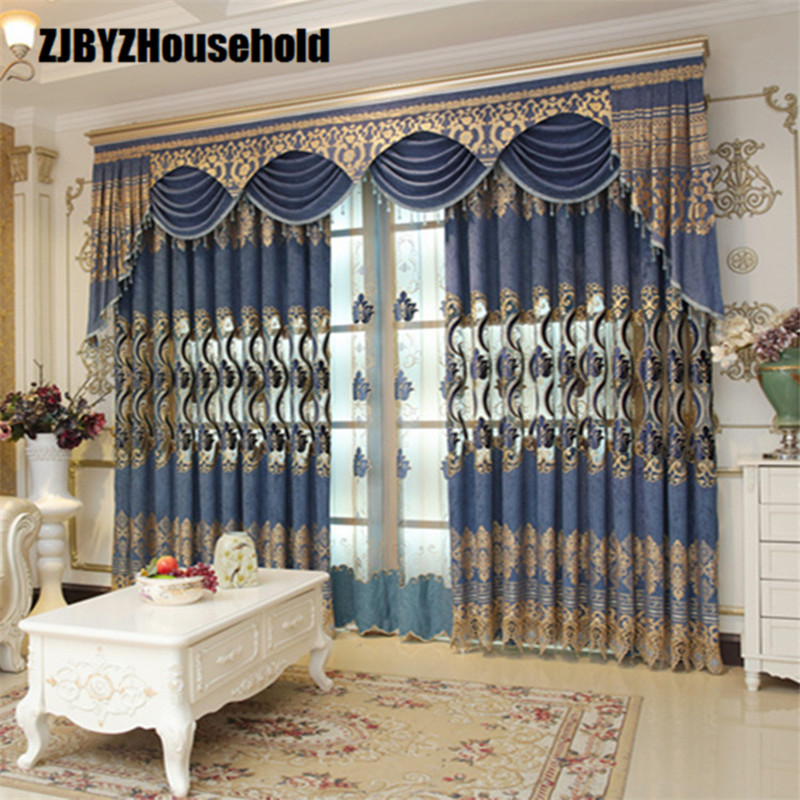 Luxury European Style Embroidery Fabric Curtains For Living Room Bedroom Custom Villa Finished Modern Tulle Sheer Valance