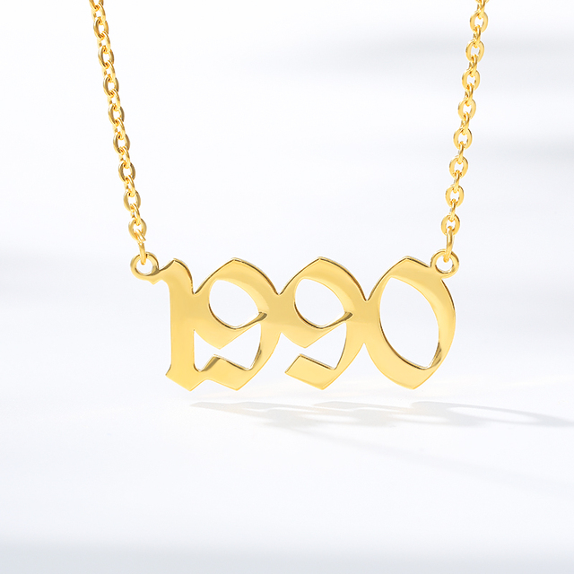 Trendy New Old English Years Necklace 1985 1986 1987 1988 1989 1990 1991 1992 1993 1994 1995 1996 1997 1998 1999 2001 2002-2020